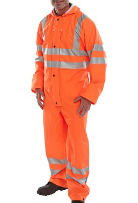 Beeswift PUC Click Hi Visibility Super B-Dri  Breathable  PU Coated Coverall (Rail Spec In Orange) (Small To 4XL)