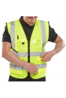 Click WCENGEXEC Executive Hi Vis Vests Zip Fastening (Medium To 6XL)