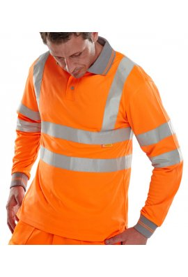 Click BPKSLSEN Hi Visibility B Seen Long Sleeved Polo Shirt (Medium To 6XL)