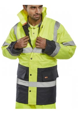 Beeswift TJSTTENG Click Padded Waterproof  Two Tone Traffic Jacket (Small To 5XL)