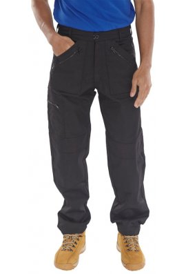 Beeswift AWTBL Click Black Action Work Trousers Zipped Pockets