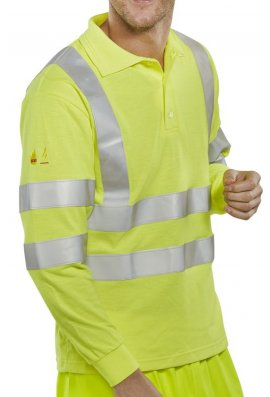 Click CFRHVPSLSAS Flame Retardent Hi-Visibility Polo Shirt Long Sleeves Anti-Static (Small To 6XL)
