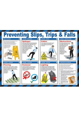 Beeswift BSS13214 Safety Awareness Poster 'Preventing slips, Tips& Falls'