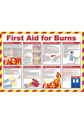 Beeswift BSS13229 Safety Awareness Posters 'First Aid For Burns'