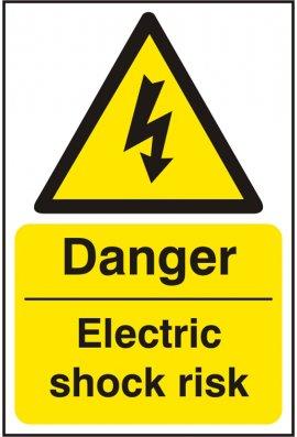Click BSS11013 Danger Electric Shock Risk Sign Vinyl Version