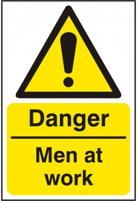Click BSS11195 Danger Men At Work Sign Vinyl Version