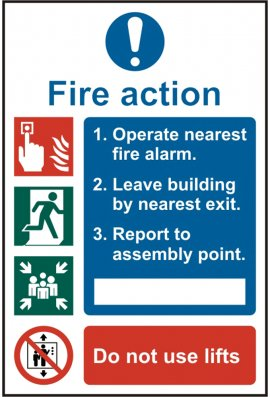 Click BSS13842 Fire Action Sign Vinyl Version