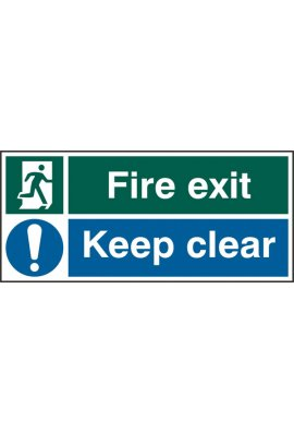 Click BSS12133 Fire Exit, Keep Clear Sign PVC Version