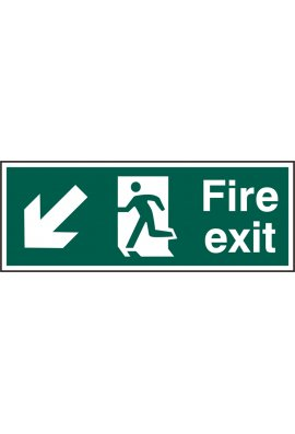 Beeswift BSS12109 Fire Exit Man Arrow Down Left Sign PVC Version