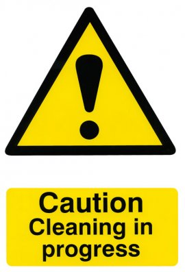 Click BSS1114 Caution Cleaning In Progress Sign PVC Version