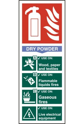 Click BSS12305 Fire Extinguisher Guide Sign Dry Powder Sign PVC Version