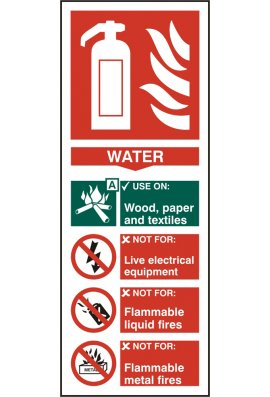 Click BSS12309 Fire Extinguisher Guide Sign Water Sign PVC Version