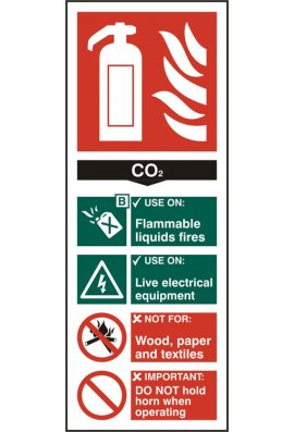 Beeswift BSS12311 Fire Extinguisher Guide Sign CO2 Sign PVC Version