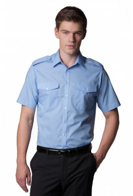 Kustom Kit KK133 Pilot Shirt Short Sleeved  (Collar Size 14.4 To 19.5)