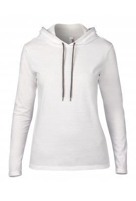 Anvil AV182 Womens Fashion Basic Long Sleeed Hooded T-Shirt (small To 2XL)
