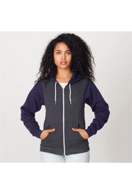 American Apparel AA035 Two Tone Flex Fleece Zip Hoodie