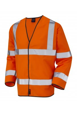Leo Workwear S01-O Shirwell Orange Hi Vis Long Sleeved Vests (Small To 6XL)