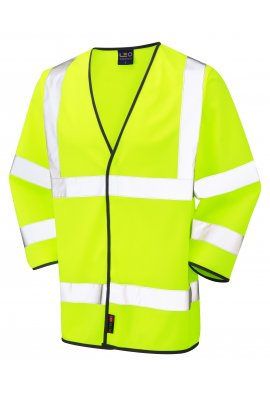 Leo Workwear S03-Y Forches Yellow 3/4 Sleeve Hi Vis Vests (Small To 6XL)
