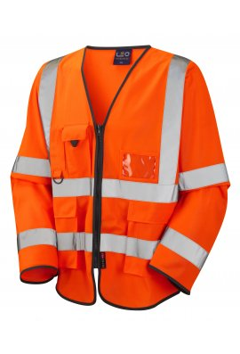 Leo Workwear S12-O Wrafton orange Executive Hi Vis Long Sleeved Vests (Small To 6XL)