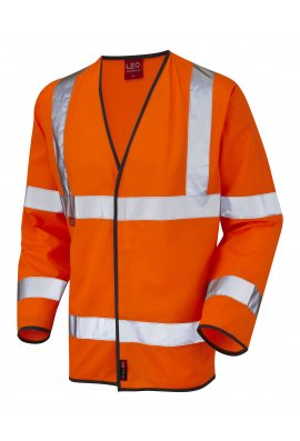 Leo Workwear S07-O Mullacott Flame Retardent Orange Hi Vis Long Sleeved Vests (Small To 4XL)