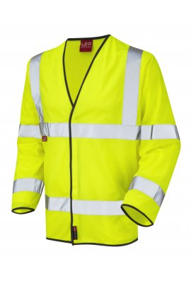 Leo Workwear S07-Y Mullacott Flame Retardent Yellow Hi Vis Long Sleeved Vests (Small to 4XL)
