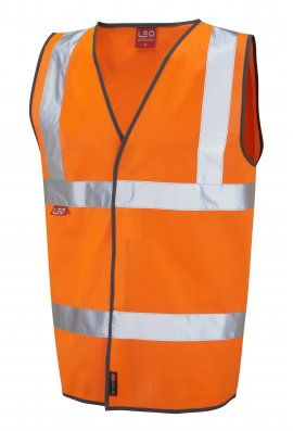 Leo Workwear W06-O Dolton Flame Retardent Orange Hi Vis Vests (Small To 5XL)
