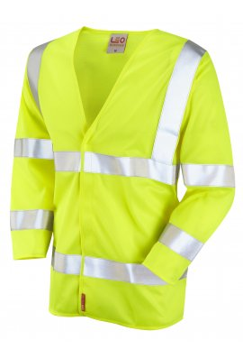 Leo Workwear S10-Y Cranford Yellow Flame Retardent 3/4 Sleeve Hi Vis Vests (Small To 6XL)