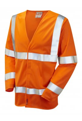Leo Workwear S11-O Parkham Flame Retardent Orange Hi Vis Long Sleeved Vests (Small To 6XL)