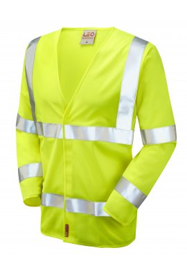 Leo Workwear S11-Y Parkham Flame Retardent Yellow Hi Vis Long Sleeved Vests (Small To 6XL)