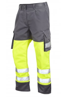 Leo Workwear CT01-Y/GY Class 1 Bideford Poly/Cotton Cargo Trousers