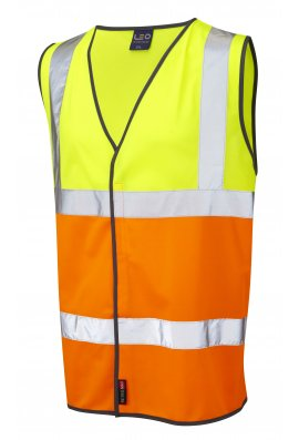 Leo Workwear W01-Y/O Tarka Yellow Orange Hi Vis Vests (Small To 6XL)