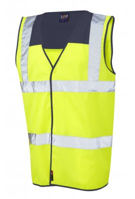 Leo Workwear W09-NV/Y Bradworthy Navy Yoke Hi Vis Vests (Small To 4XL)