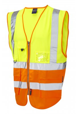 Leo Workwear W11-Y/O Lynton Superior Yellow Orange Hi Vis Vests (Small To 6XL)