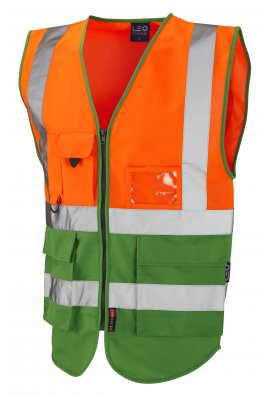 Leo Workwear W11-O/GN Lynton Orange Green Two Tone Hi Vis Vests (Small To 6XL)