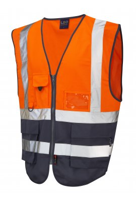 Leo Workwear W11-O/NV Lynton Orange Navy Two Tone Hi Vis Vests (Small To 6XL)