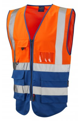 Leo Workwear W11-O/RO Lynton Orange Royal Two Tone Hi Vis Vests (Small To 6XL)