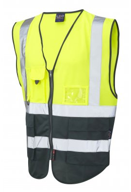 Leo Workwear W11-Y/BT Lynton Yellow Green Two Tone Hi Vis Vests (Small To 6XL)