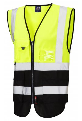 Leo Workwear W11-Y/BK Lynton Yellow Black Two Tone Hi Vis Vests (Small To 6XL)
