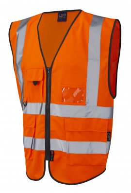 Leo Workwear W11-O Lynton Superior Orange Hi Vis Vests (Small To 6XL)