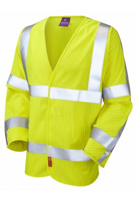 Leo Workwear S17-Y LFS Yellow Flame Retardent Anti-Static Hi Vis Long Sleeved Vests (Small To 6XL)