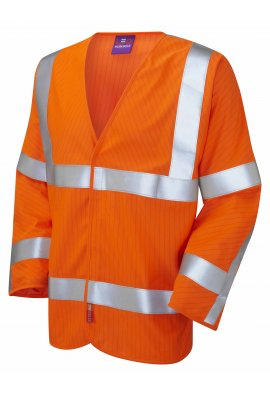 Leo Workwear S17-O LFS Orange Flame Retardent Anti-Static Hi Vis Long Sleeved Vests (Small To 6XL)
