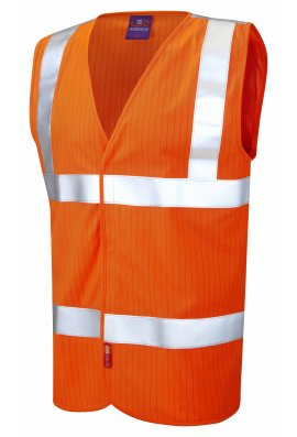 Leo Workwear W19-O Flame Retardent Anti Static Orange Hi Vis Vests (Small To 6XL)