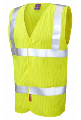 Leo Workwear W19-Y Flame Retardent Anti Static Yellow Hi Vis Vests (Small To 6XL)