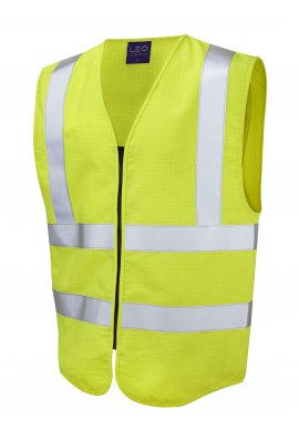 Leo Workwear W10-Y Harracott Flame Retardent Anti Static Yellow Hi Vis Vests (Small to 6XL)