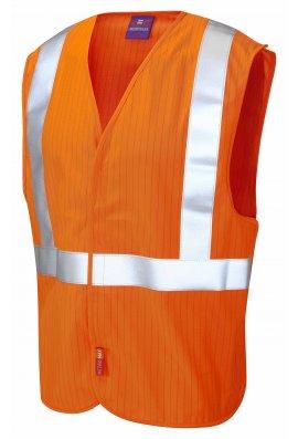 Leo Workwear W21-O Flame Retardent Anti-Static Railway Hi Vis Vests (Small To 3XL)
