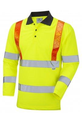 Leo Workwear P07-Y Bickleton Class 3 Orange Brace Coolviz Sleeved Polo (Small To 6XL)