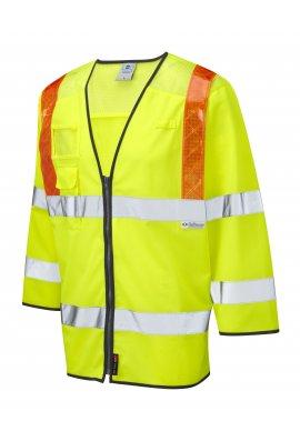 Leo Workwear S14-Y Taddiport Class 3 Orange Brace 3/4 Sleeve WaistCoat (Small To 6XL)