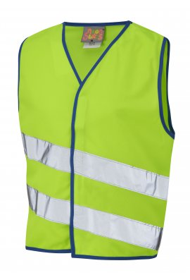Leo Workwear CW01-LM NeonStars Childrens Lime Hi Vis Vest (3/4 To 9/11)