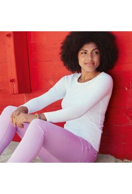 Fruit Of The Loom SS059 Lady-Fit Crew Neck Long Sleeved T-Shirt (XSmall To 2XL)