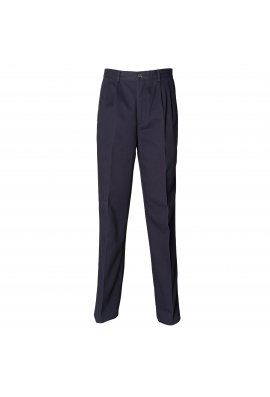 Henbury HB600 Teflon Coated Pleated Chino Trousers Navy
